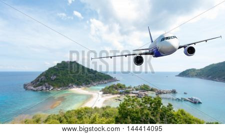 Airplane With Background Of Beautiful Ocean And Island, Koh Nang Yuan In Thailand, Exploration Conce
