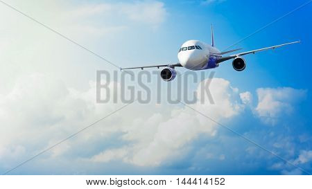 Airplane With Background Of Cloudy Sky, Exploration Conceptual