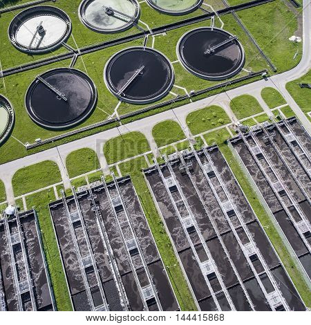 Aerial View Of Sewage Treatment Plant In Poland.