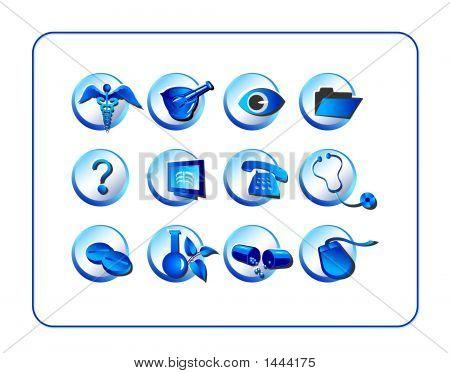 Medical & Pharmacy Icon Set, Blue
