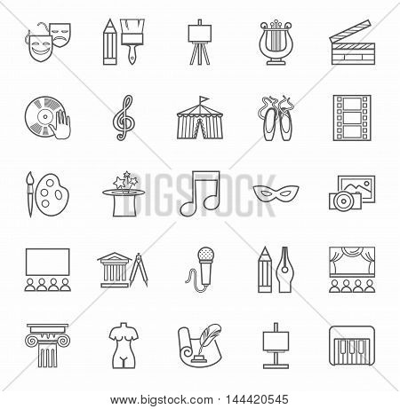 Art & culture, icons, monochrome, outline. Vector contour icons attributes of culture and art. Gray image on a white background.