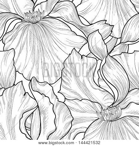 Floral seamless pattern. Flower iris etching background. Abstract floral ornamental texture with flowers. Spring flourish garden. Fantastic flowers  motif ornament