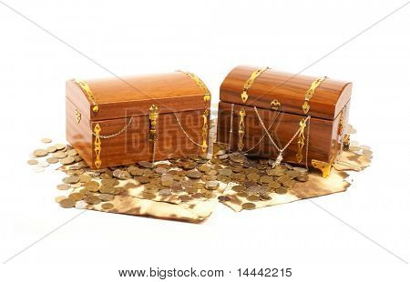 Treasure chests isolated on white background