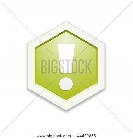 The green hexagon label with exclamation mark