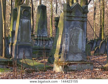 Jewish gravestones. Lodz, Poland January 12, 2015 Unique gravestones and tombs at the ancient Jewish cemetery in Lodz.