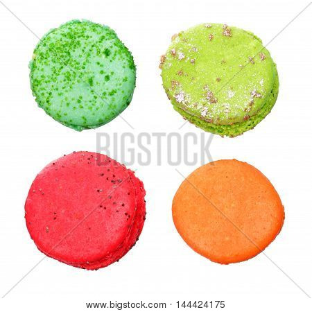 Colorful macaroons isolated on a white background