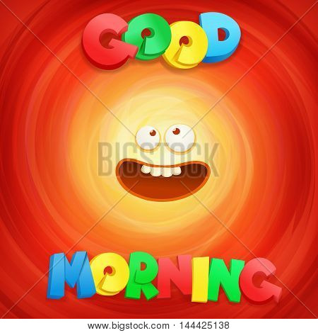 Good Morning ltitle concept card. Vector illustration