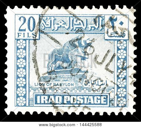 IRAQ - CIRCA : 1942 : Cancelled postage stamp printed by Iraq, that shows Lion of Babylon.