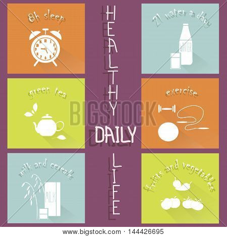 Healthy daily life modern flat hand drawn icons on purple, vector illustration
