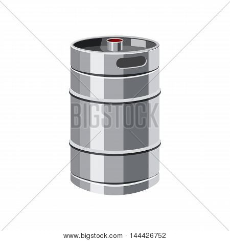 Metal beer keg icon in cartoon style isolated on white background