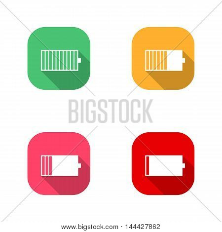Set of square icons battery charge level low medium full. Flat style with a long diagonal shadow the horizontal arrangement of power supply components. Isolated on white background stock vector.