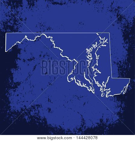 3D Maryland (USA) Grunge Blueprint Boundary map with shadow