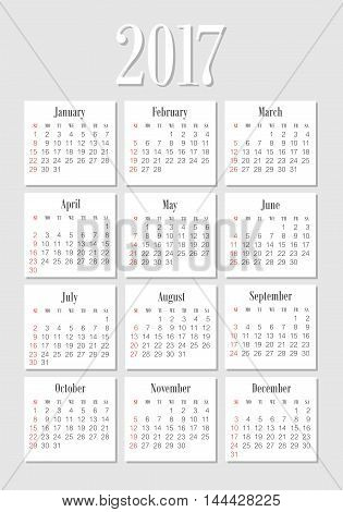 Vector pocket 2017 year calendar. Week starts from Sunday, eps 10