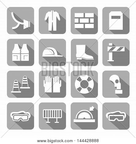 Occupational safety, personal safety, icons, monochromatic, gray.  Vector icons with protective clothing and items of human security. White images on a gray background with shadow.
