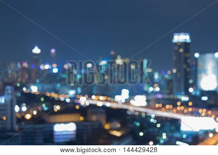 Twilight, blurred lights city downtown abstract background