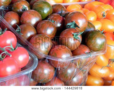 Tomatoes in boxes on bazaar in Tel Aviv Israel