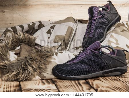 Hiking Shoes With Camufliage Coat And Old Textures
