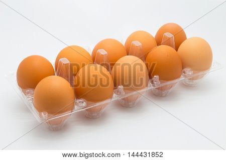Fresh hen eggs on white background, isolated