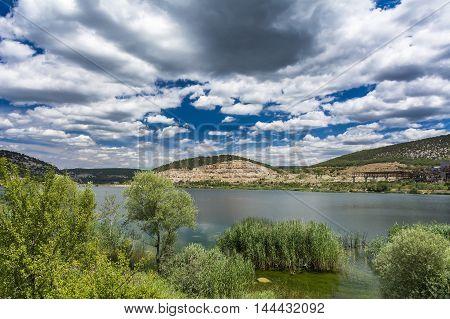 Small mountain lake in Crimea. Stock photo.
