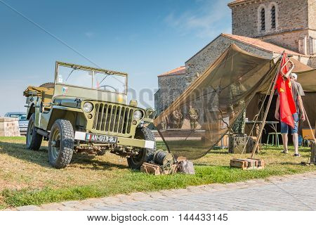Old Military Jeep With His Equipment Exhibition