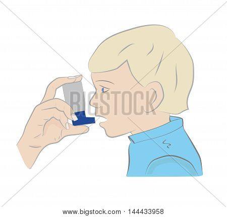 Illustration boy sickly use the inhaler. vector.