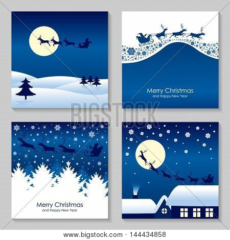 Vector illustrations of Christmas congratulatory card with Santa who rides on reindeer set
