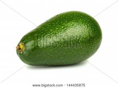 Single green avocado on a white background