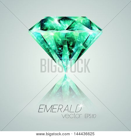 Vector illustration green stone jewelry faceted emerald