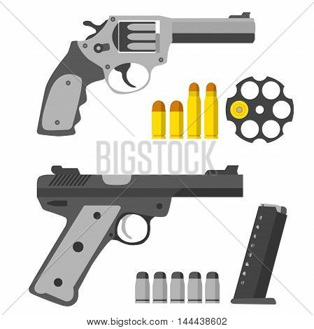 Set of pistols. Revolver, revolver's barrel and bullets. Gun and clip with bullets.