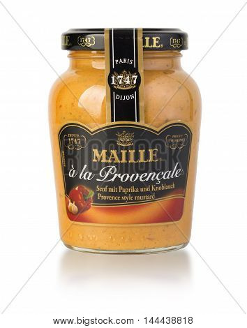Chisinau Moldova- August 18 2016: Bottle of Maille Dijon Mustard on white background Maille Created in 1747 by Antoine Maille