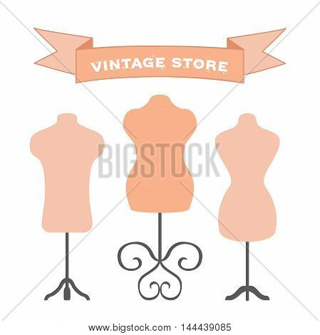Vector set of mannequins. Manikins for tailors, designers, clothes stores. Isolated illustration.
