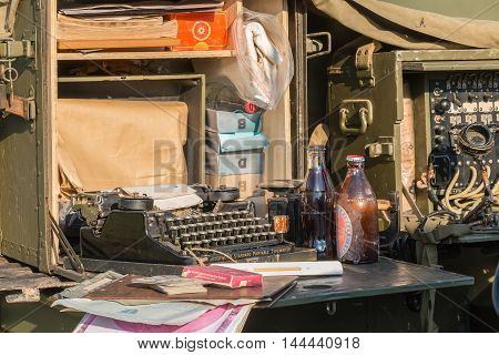 Typewriter On Display In A Reconstructed Military Camp
