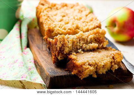 Oatmeal Apple Coffee Cake . selective focus