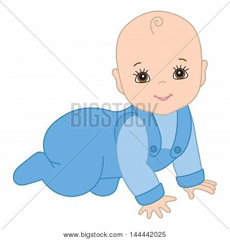 Vector cute crawling baby boy with smiling face