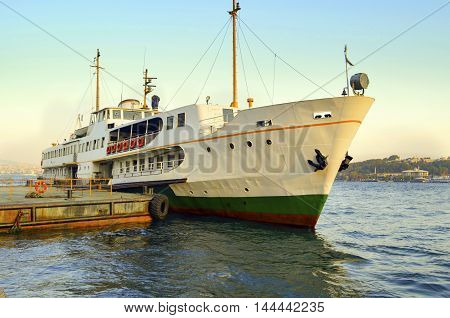 Ferry in Karakoy pier. Istanbul Ferries continue to serve as a key public transport link for many Thousands of commuters tourists and vehicles per day.