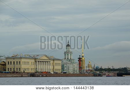 Curiosities and spire of the Peter and Paul Cathedral in St. Petersburg