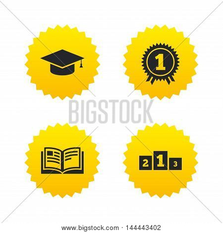 Graduation icons. Graduation student cap sign. Education book symbol. First place award. Winners podium. Yellow stars labels with flat icons. Vector