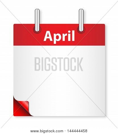 A calender date offering a blank April page over white
