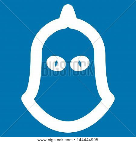 Executioner Helmet vector icon. Style is contour flat icon symbol, white color, blue background.
