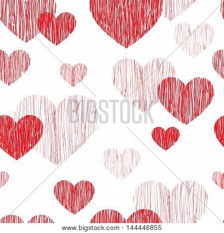Love heart seamless pattern. Happy Valentines day wallpaper. Love heart pencil sketch tiled background. Valentine's day ornament