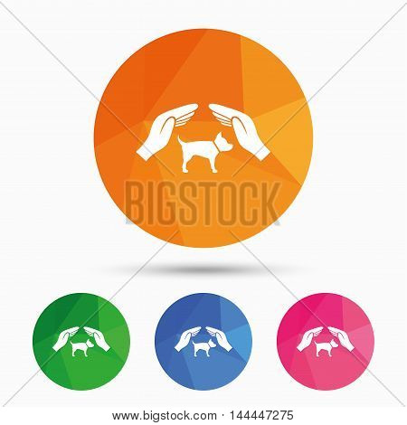 Protection of animals pets sign icon. Hands protect dog symbol. Shelter for dogs. Animals insurance. Triangular low poly button with flat icon. Vector