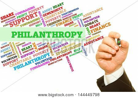 Hand writing Philanthropy word on a transparent wipe board. Word collage concept.