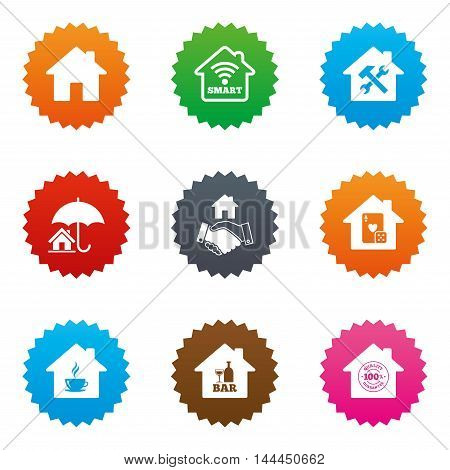 Real estate icons. House insurance, broker and casino with bar signs. Handshake deal, coffee and smart house symbols. Stars label button with flat icons. Vector