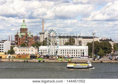 HELSINKI FINLAND - AUGUST 27 2016: Cityscape of Helsinki capital of Finland on August 27 2016