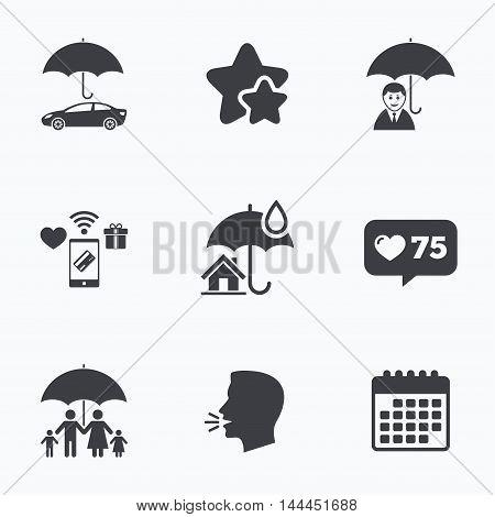 Family, Real estate or Home insurance icons. Life insurance and umbrella symbols. Car protection sign. Flat talking head, calendar icons. Stars, like counter icons. Vector