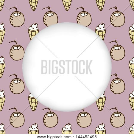 Greeting card background. Paper cut out, white shape with place for text. Frame with seamless pattern. Seamless summer background. Hand drawn pattern. Bright colorful cocktail and ice cream backdrop
