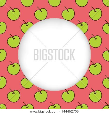 Greeting card background. Paper cut out, white shape with place for text. Frame with seamless pattern. Seamless summer background. Hand drawn pattern. Bright and colorful green apples on red