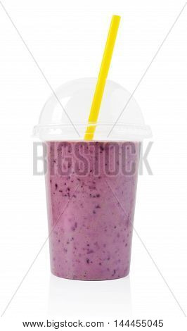 Blackberry Smoothie In Plastic Transparent Cup