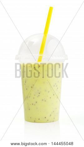 Green Smoothie In Plastic Transparent Cup
