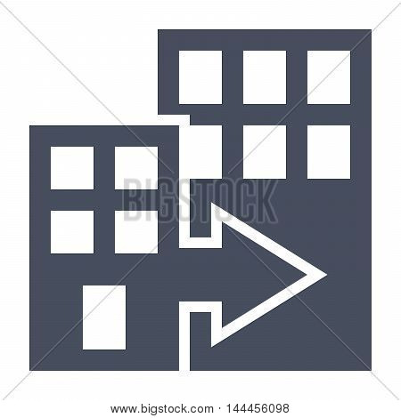 Mergers and acquisitions concept with office buildings.